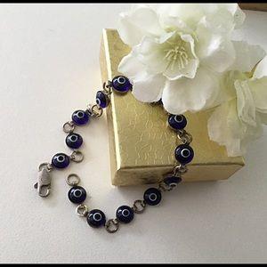 Jewelry - Vintage, Blue Evil Eye Bracelet, Silver